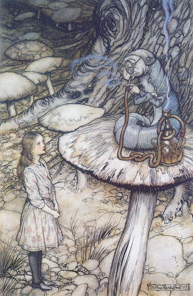 Advice from a Caterpillar, Arthur Rackham, Alice in Wonderland.
