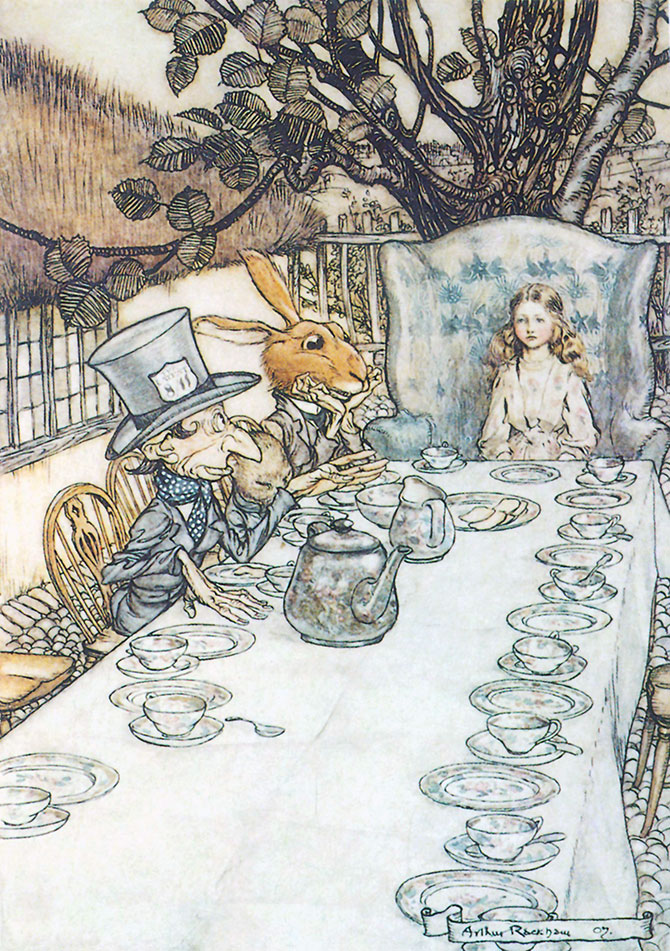 The Mad Hatter's Tea Party, Arthur Rackham, Alice in Wonderland.