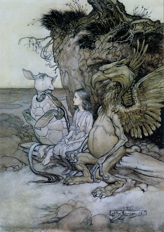 Let us go to the shore, and I'll tell you my history, and you'll understand why it is I hate cats and dogs.  Arthur Rackham, Alice in Wonderland