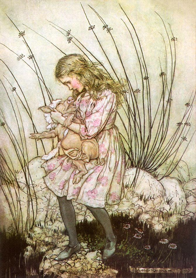 Pig and Pepper. Arthur Rackham, Alice in Wonderland