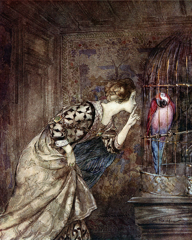 May Colven's Parrot, Arthur Rackham, Some British Ballads