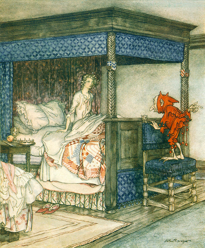 Billy Blind stood at the foot of her bed. Arthur Rackham, Some British Ballads