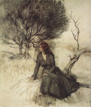 Girl Beside a Stream by Arthur Rackham