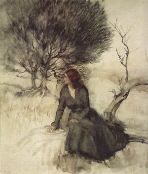 Girl Beside a Stream by Arthur Rackham