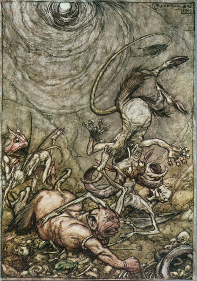Into the bottomless pit he fell. Arthur Rackham, The Ingoldsby Legends