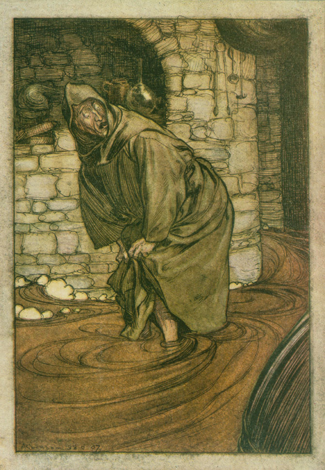 A flood of brown stout he was up to his knees in, Arthur Rackham, The Ingoldsby Legends