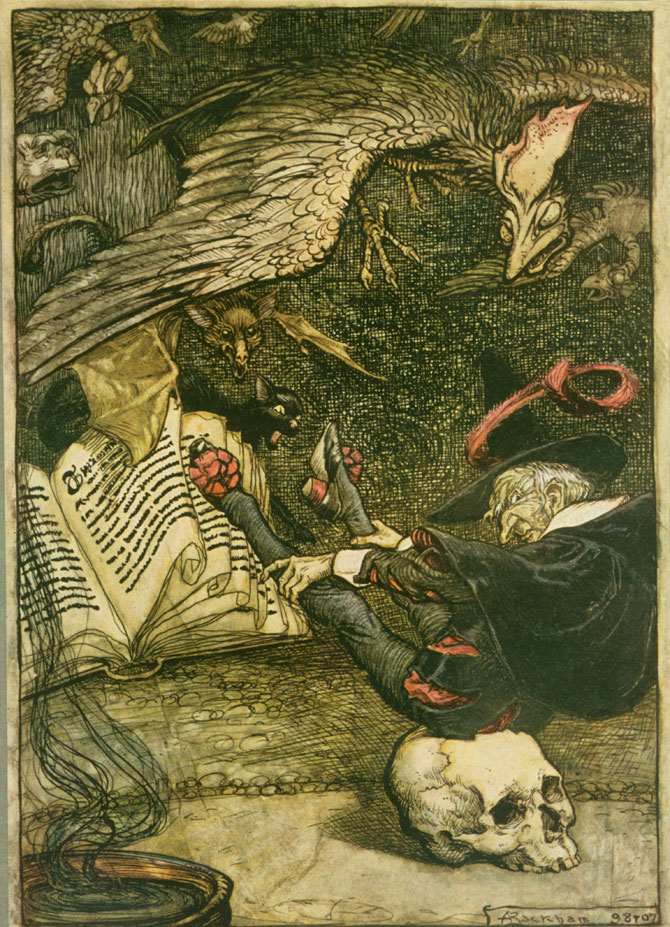 The little man had seated himself in the centre of the circle upon the large skull, Arthur Rackham, The Ingoldsby Legends