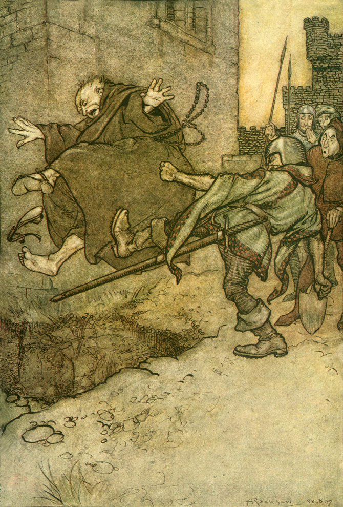 One kick! It was but one! -- but such a one. Arthur Rackham, The Ingoldsby Legends