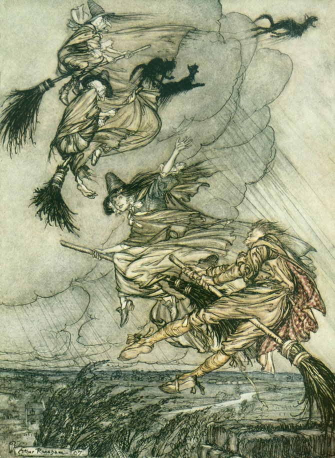 Flying Cats and Witches, Arthur Rackham, The Ingoldsby Legends