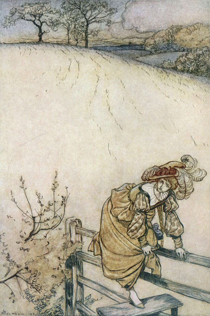 These stiles bothered Odile. Arthur Rackham, The Ingoldsby Legends