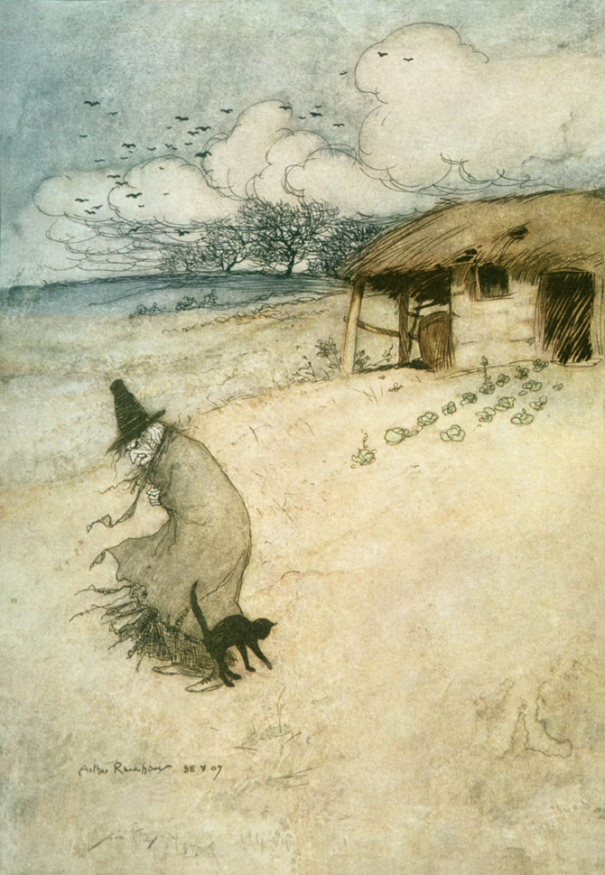 An Old Woman Dwells upon Tappington Moor, Arthur Rackham, The Ingoldsby Legends