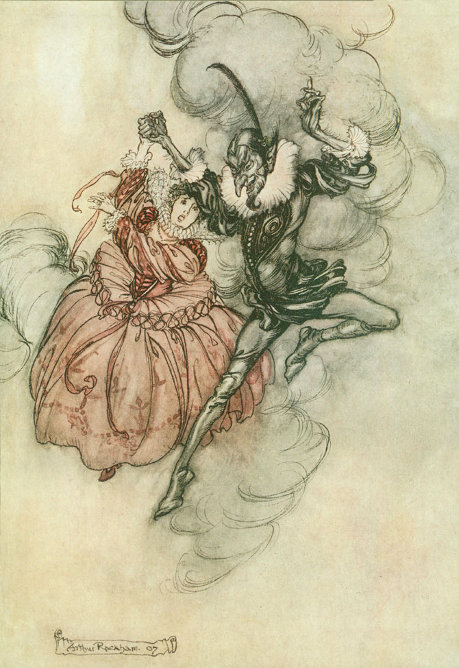 A grand pas de deux. Arthur Rackham, The Ingoldsby Legends