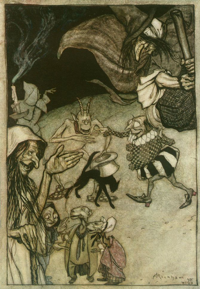 Witches, Warlocks, Ghosts, Goblins, and Ghouls. Arthur Rackham, The Ingoldsby Legends
