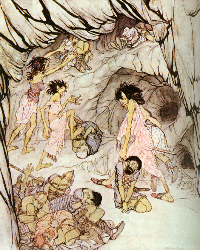 'This one is fat, said Cuillan, and she rolled a bulky Fenian along like a wheel. Arthur Rackham, Irish Fairy Tales
