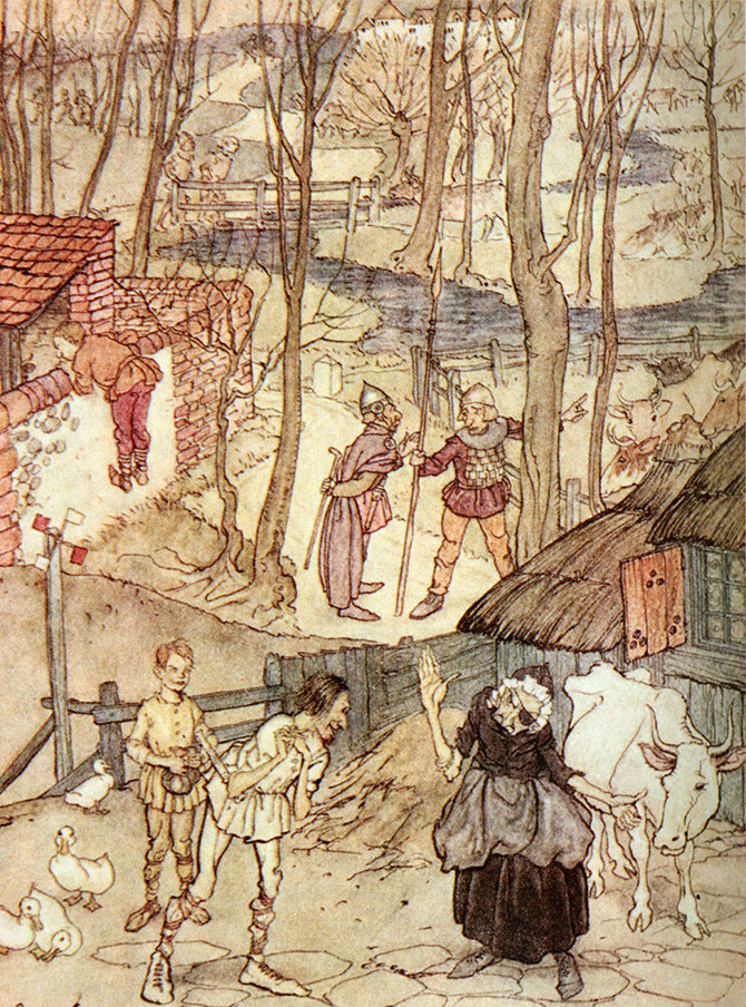 They offered a cow for each leg of her cow,  but she would not accept that offer. Arthur Rackham, Irish Fairy Tales