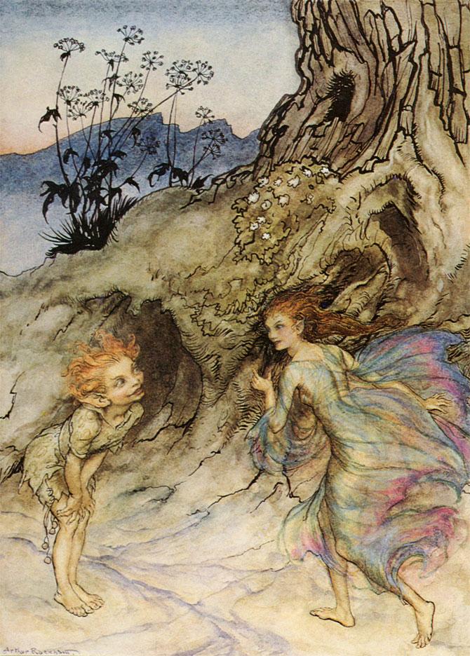 Puck and a Fairy, Arthur Rackham, A Midsummer Night's Dream