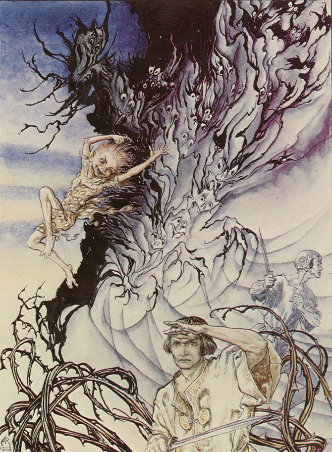 Puck and Lysander, Arthur Rackham, A Midsummer Night's Dream