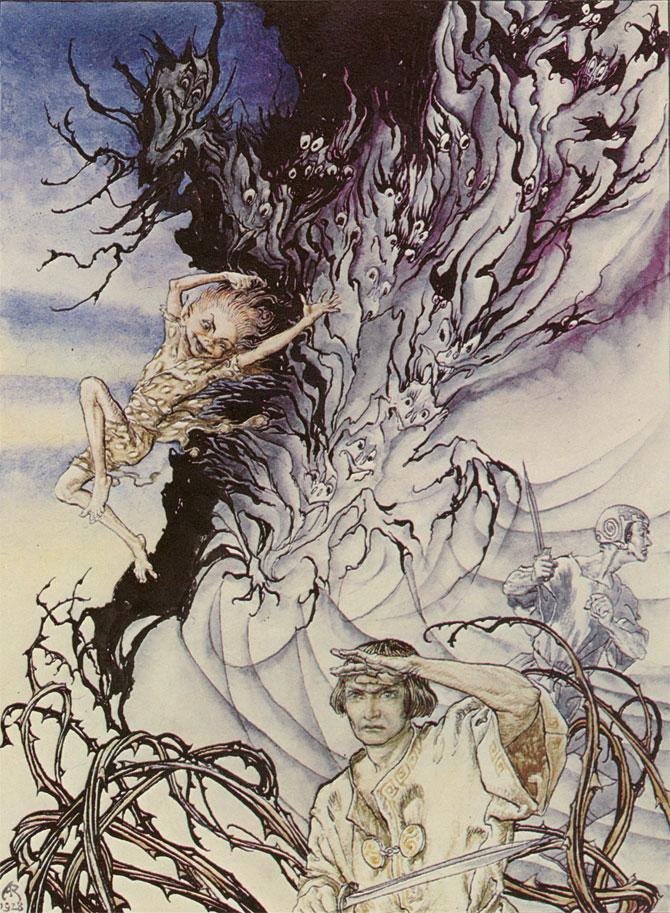 Puck and Lysander, Arthur Rackham, A Midsummer Night's Dream