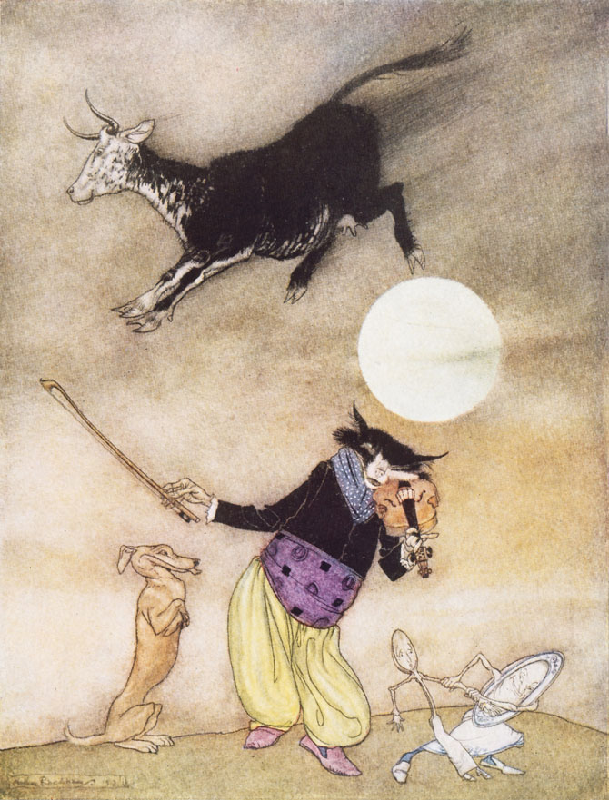 Hey Diddle, Diddle. Arthur Rackham, Mother Goose