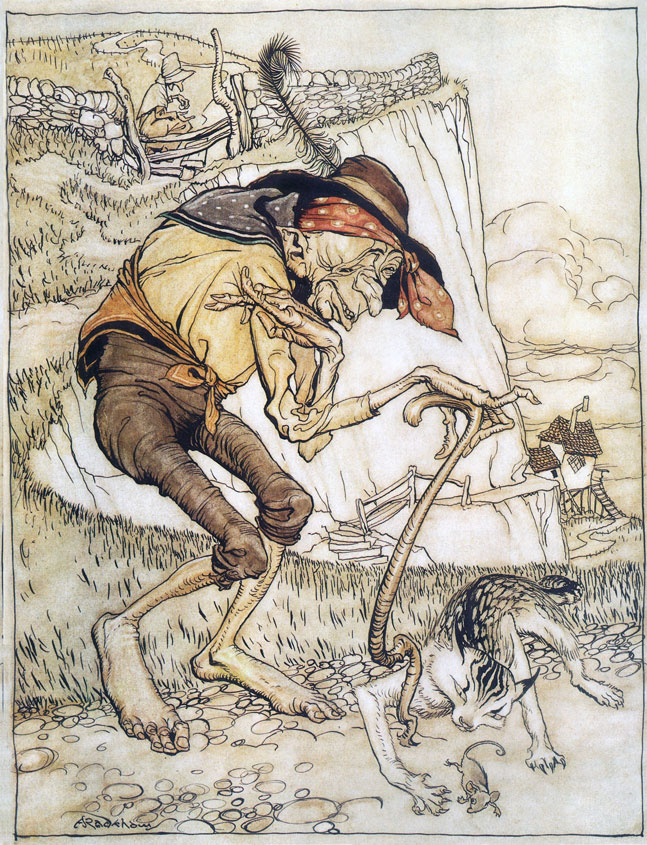 Arthur Rackham, Mother Goose: There was a crooked man, and he walked a crooked mile, He found a crooked sixpence against a crooked stile; He bought a crooked cat which caught a crooked mouse, And they all lived together in a little crooked house.
