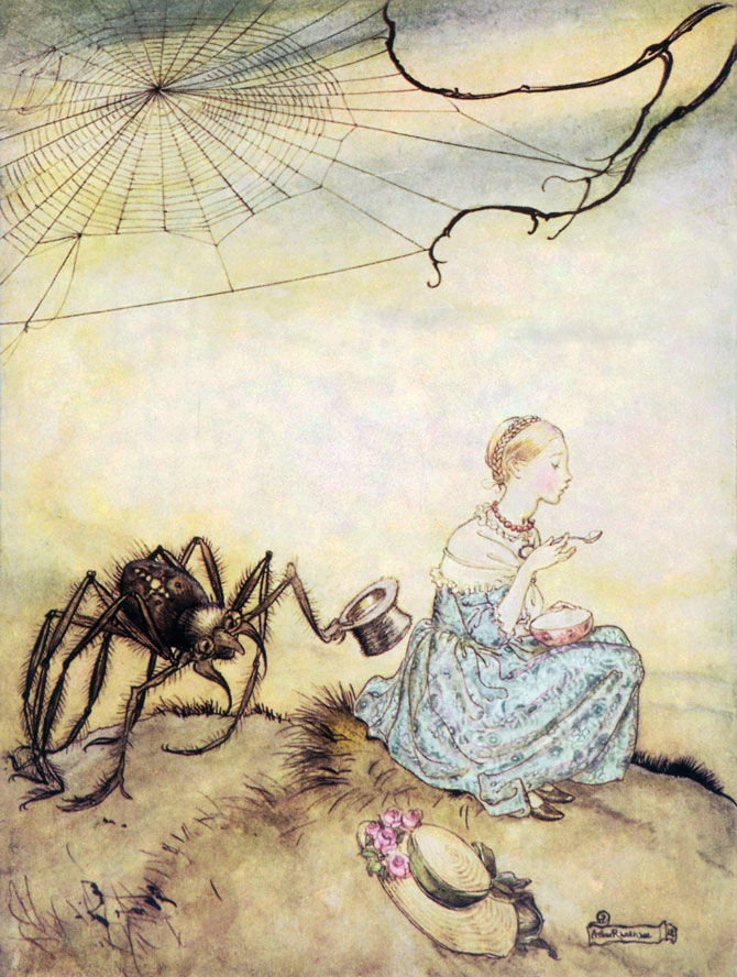 Little Miss Muffet, Arthur Rackham, Mother Goose: