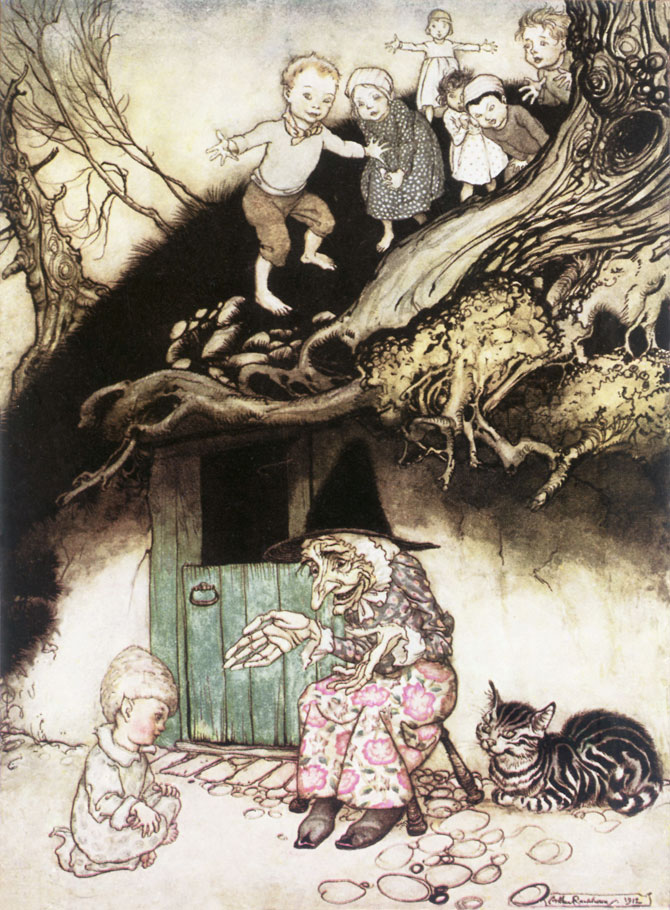 The Old Woman Who Lived Under the Hill. Arthur Rackham, Mother Goose