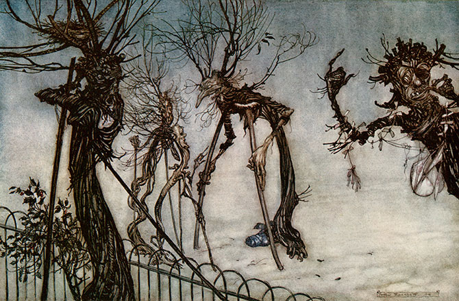 An elderberry hobbled across the walk,  and stood chatting with some young quinces, Arthur Rackham, Peter Pan in Kensington Gardens