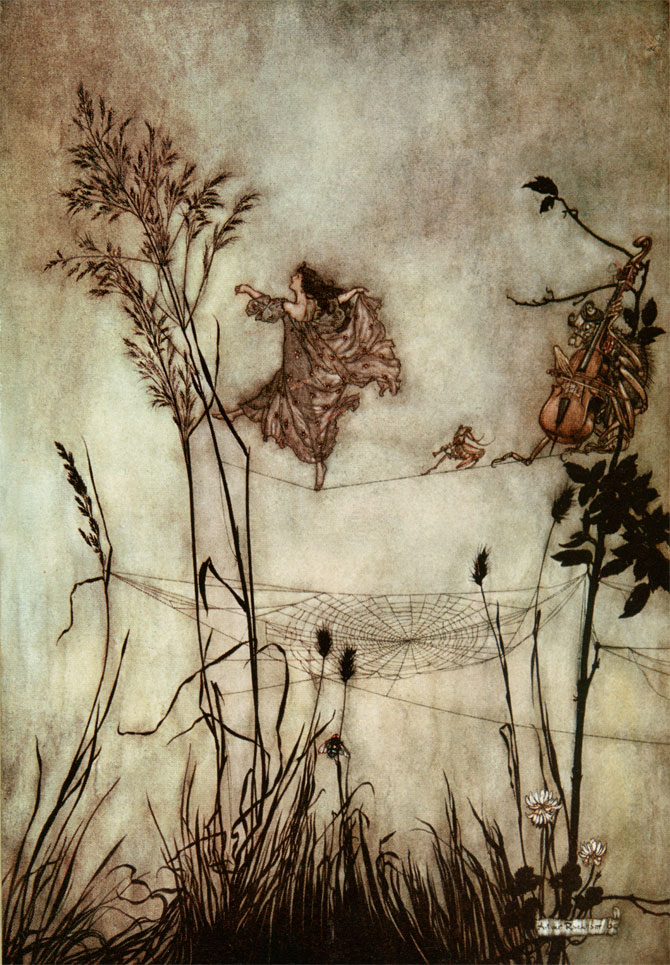 Exquisite Fairy Dancing. Arthur Rackham, Peter Pan in Kensington Gardens