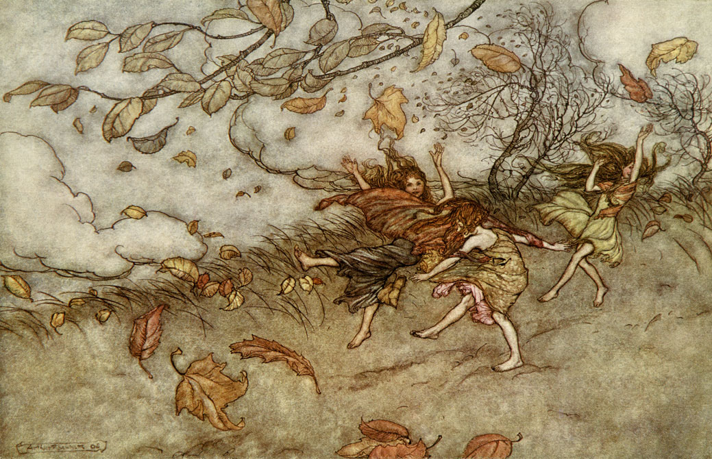 Joy of a Falling Leaf, Arthur Rackham, Peter Pan in Kensington Gardens