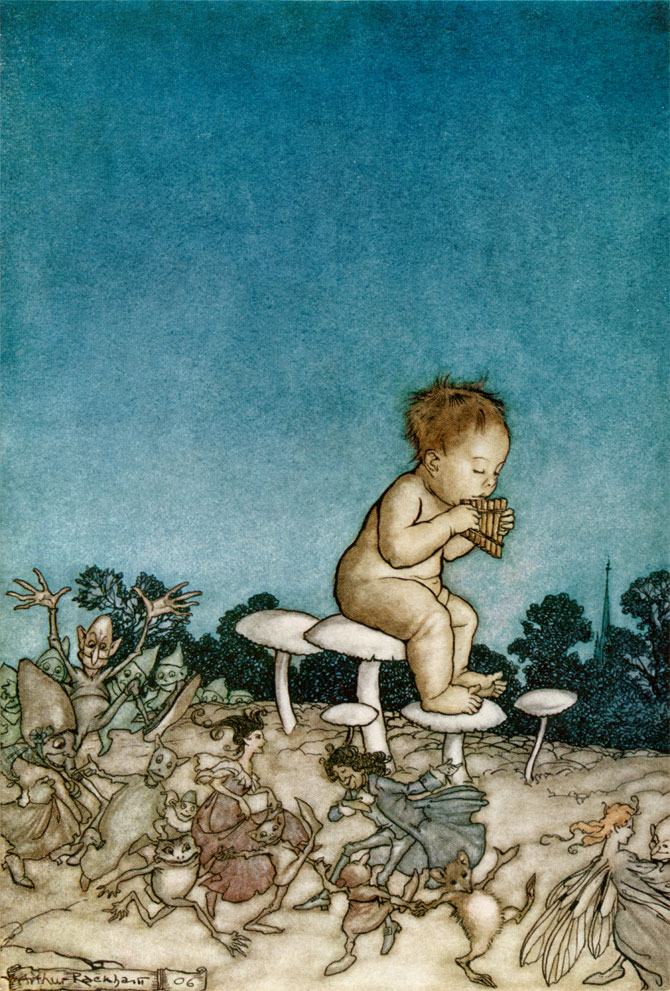 Peter Playing the Flute. Arthur Rackham, Peter Pan in Kensington Gardens