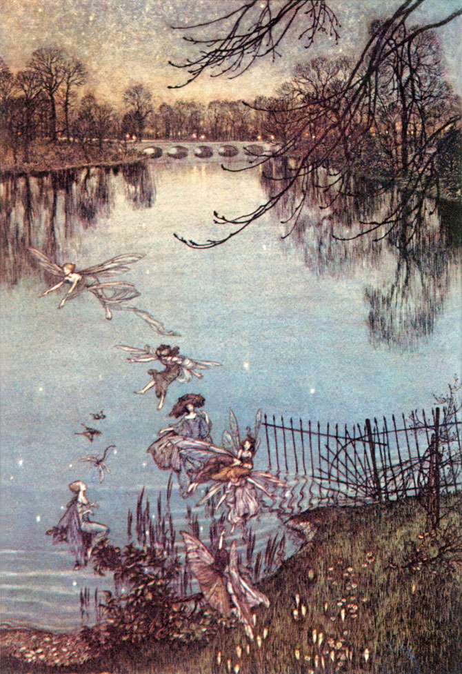 The Serpentine is a lovely lake, and there is a drowned forest at the bottom of it. If you peer over the edge you wcan see the trees all growing upside down, and they say that at night there are drowned stars in it. Arthur Rackham, Peter Pan in Kensington Gardens, 1906