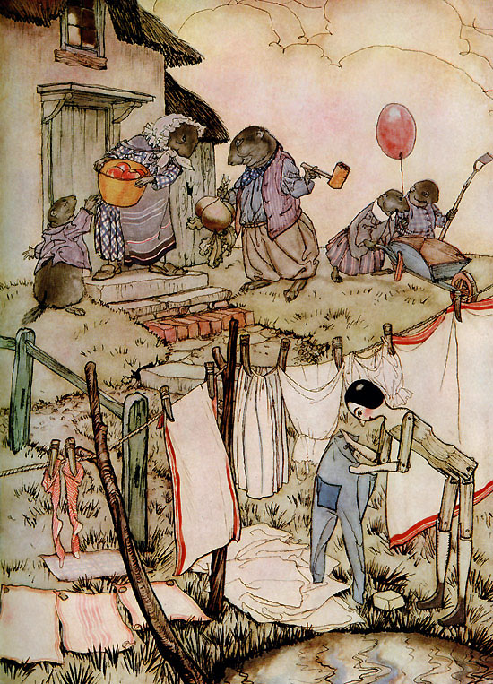 Mrs. Woodchuck, illustration by Arthur Rackham to Poor Cecco