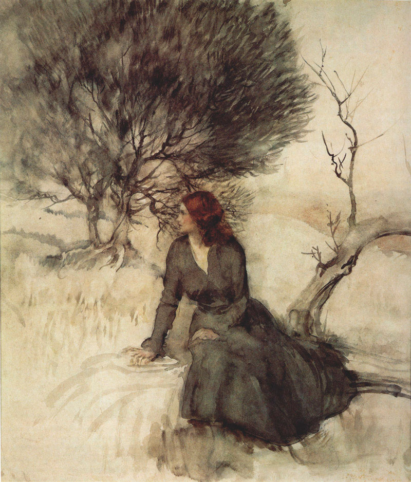 Arthur Rackham, Girl Beside a Stream