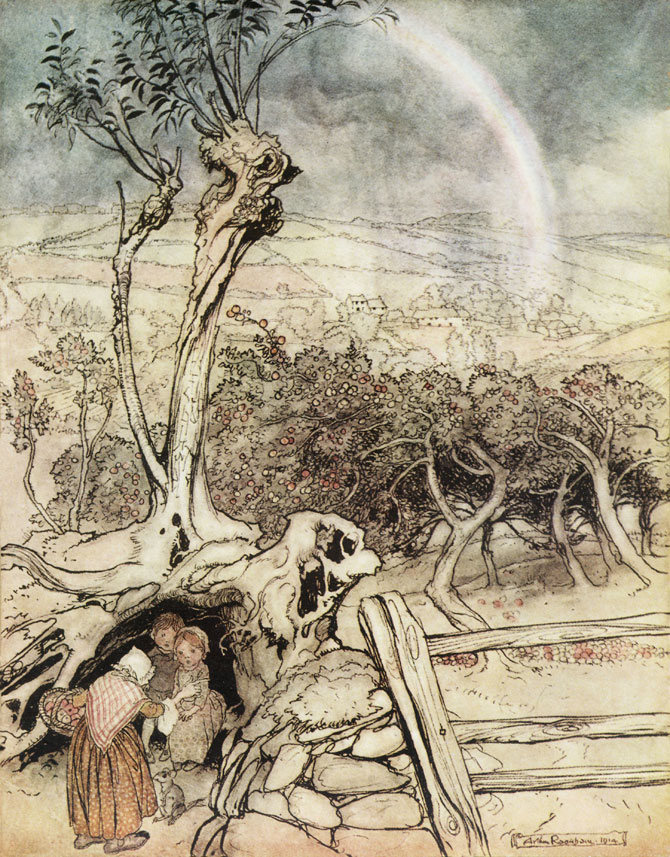 Where the Rainbow Ends was Arthur Rackham's contribution to Princess Mary's Gift Book, in support of the WWI effort.