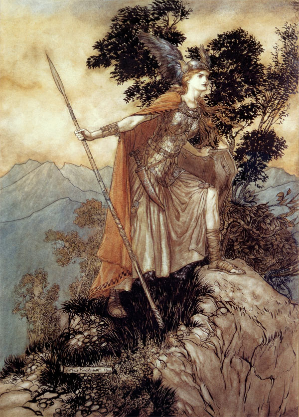 Brunhilde, Arthur Rackham, illustration to Wagner's The Ring of the Nibelung