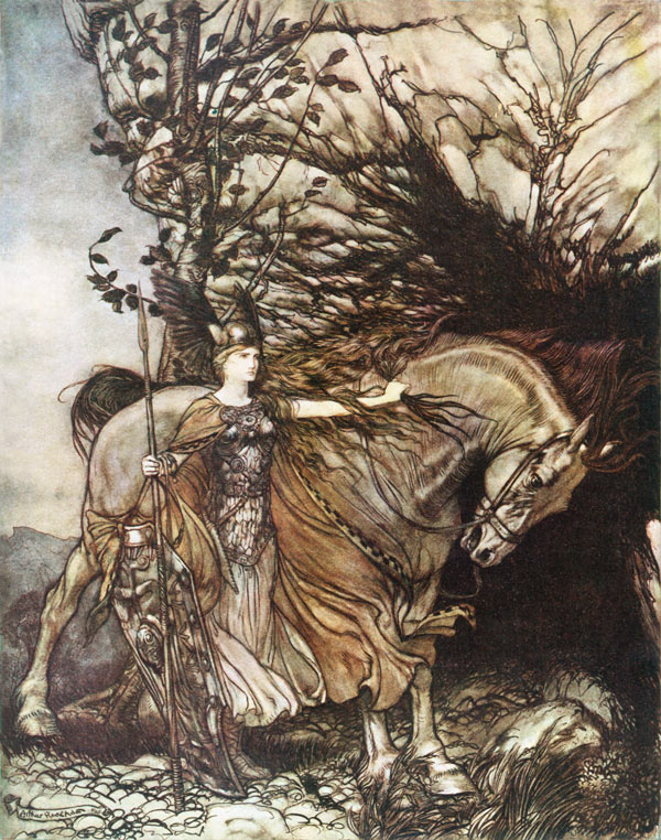 Brunhilde at the Mouth of the Cave, Arthur Rackham, illustration to Wagner's The Ring of the Nibelung