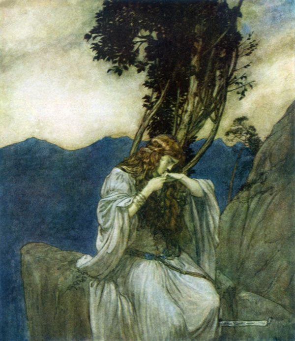Brunhilde kissed Siegfried's ring, Arthur Rackham, illustration to Wagner's The Ring of the Nibelung