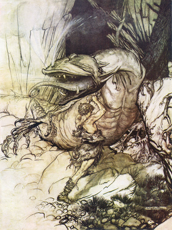 The dragon, Fafnir, Arthur Rackham, illustration to Wagner's The Ring of the Nibelung