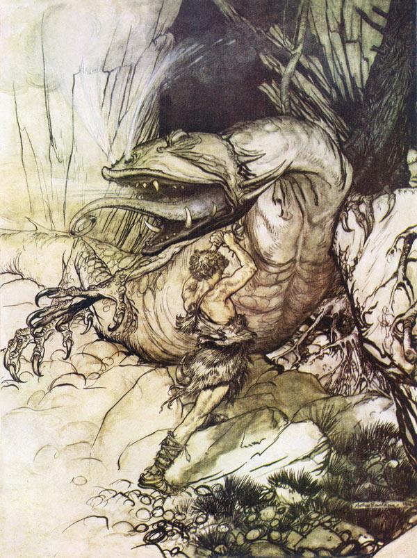 The dragon, Fafnir, Arthur Rackham, illustration to Wagner's The Ring of the Nibelung