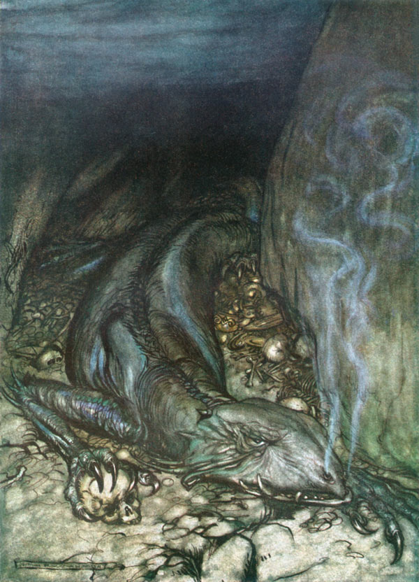 Fafner, in dragon form, guarding treasure, Arthur Rackham, illustration to Wagner's The Ring of the Nibelung