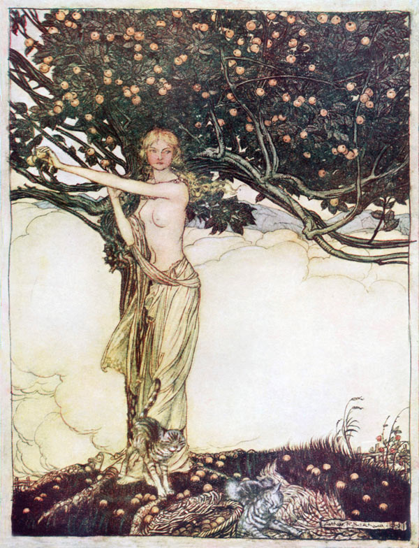 Freya the Fair, Arthur Rackham, illustration to Wagner's The Ring of the Nibelung