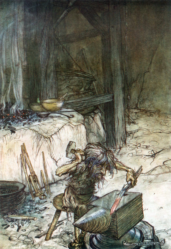 The Dwarf, Mime, at the Anvil, Arthur Rackham, illustration to Wagner's The Ring of the Nibelung