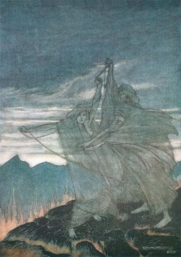 The Norns Vanished, Arthur Rackham, illustration to Wagner's The Ring of the Nibelung