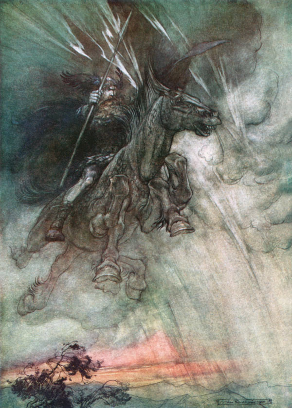 Odin (Wotan), Arthur Rackham, illustration to Wagner's The Ring of the Nibelung