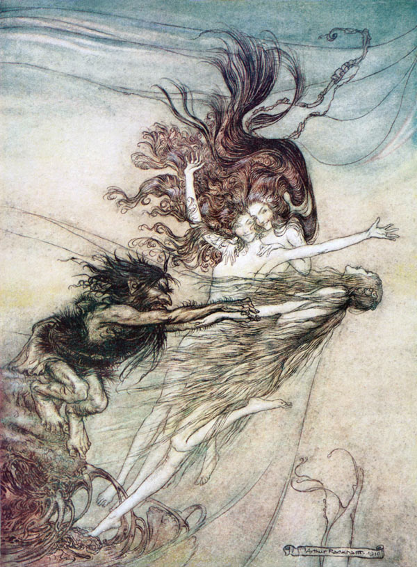 Arthur Rackham, Rhine-Maidens Teasing Alberich, illustration to Wagner's The Ring of the Nibelung.