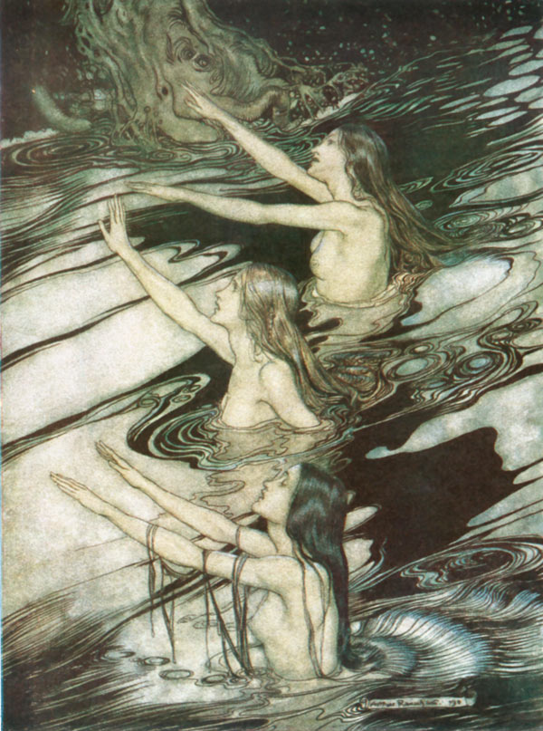 The Rhine-Maidens Warn Siegfried, Arthur Rackham, illustration to Wagner's The Ring of the Nibelung
