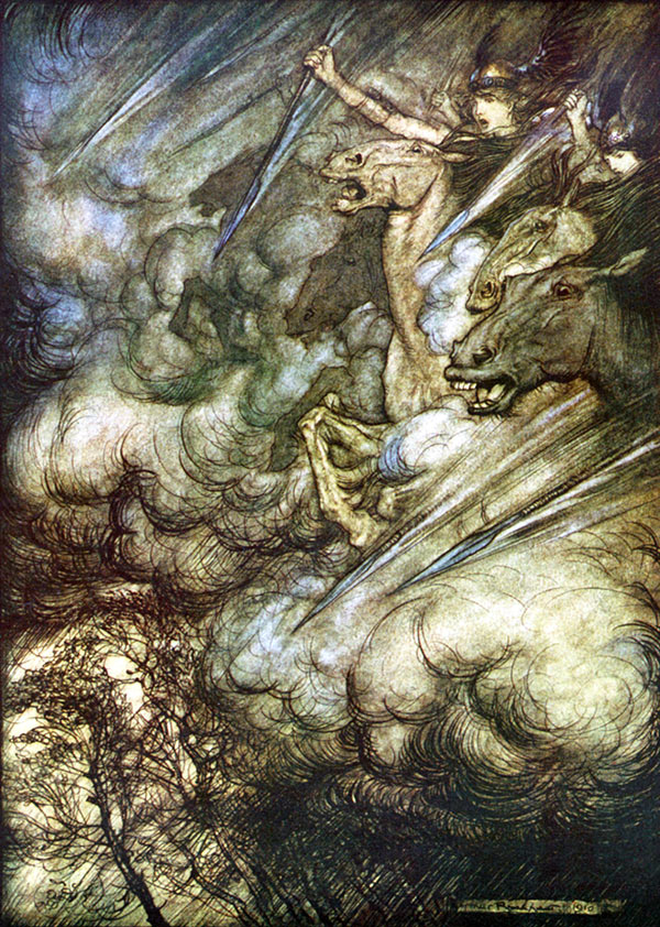Arthur Rackham, Ride of the Valkyries, illustration to Wagner's The Ring of the Nibelung.