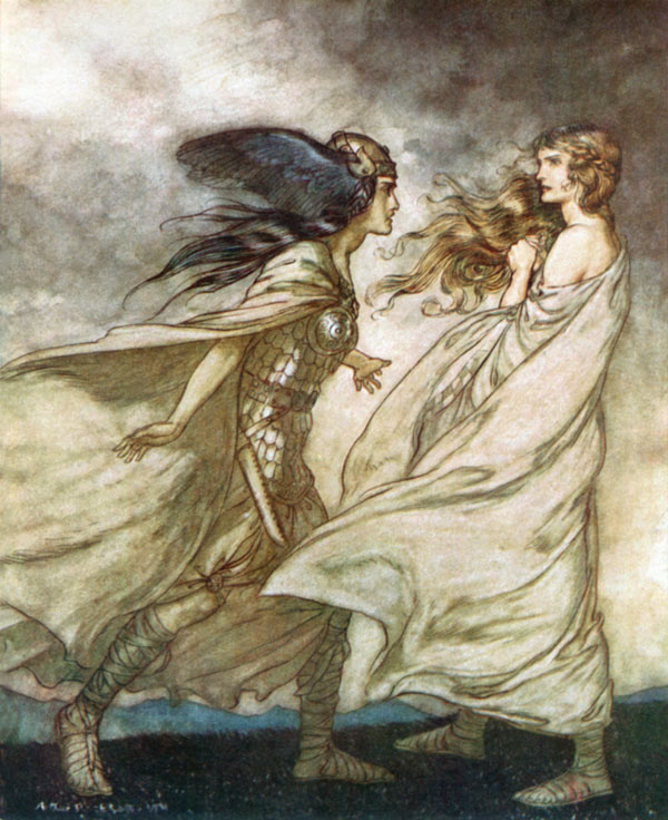 Arthur Rackham, What is the ring I see upon thy hand? illustration to Wagner's The Ring of the Nibelung.