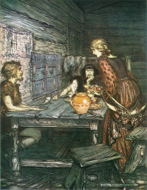 Hunding discovers the likeness between Siegmund and Sieglinde, Arthur Rackham, illustration to Wagner's The Ring of the Nibelung