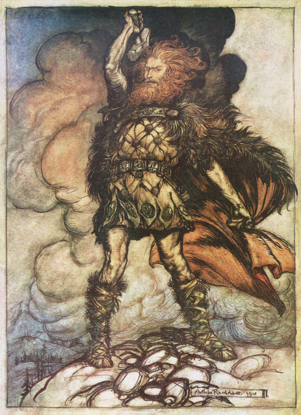 Thor (Donner) Wilds His Hammer, Arthur Rackham, illustration to Wagner's The Ring of the Nibelung